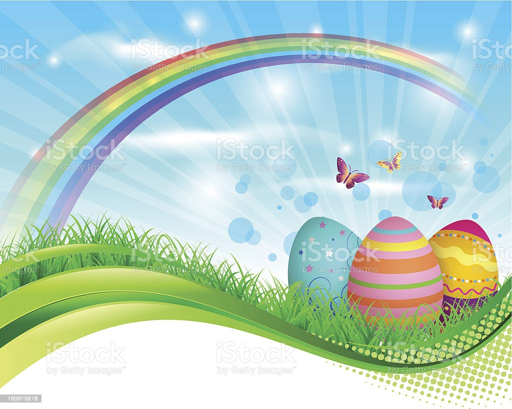 Easter eggs banner vector art illustration