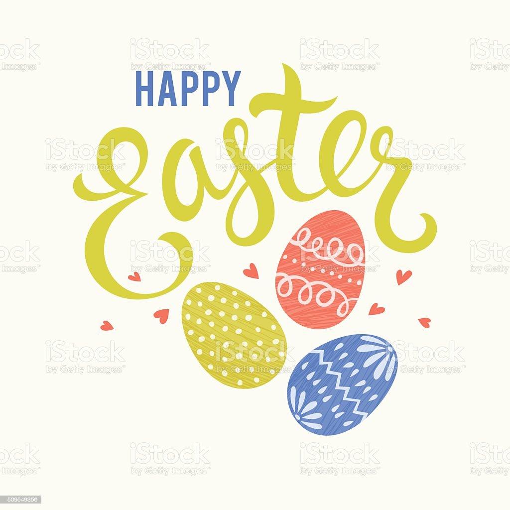 Easter Eggs Card Red vector art illustration