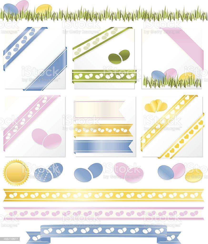 Easter Eggs Corner Ribbons, Borders: Pink, Blue, Yellow, Green, White vector art illustration