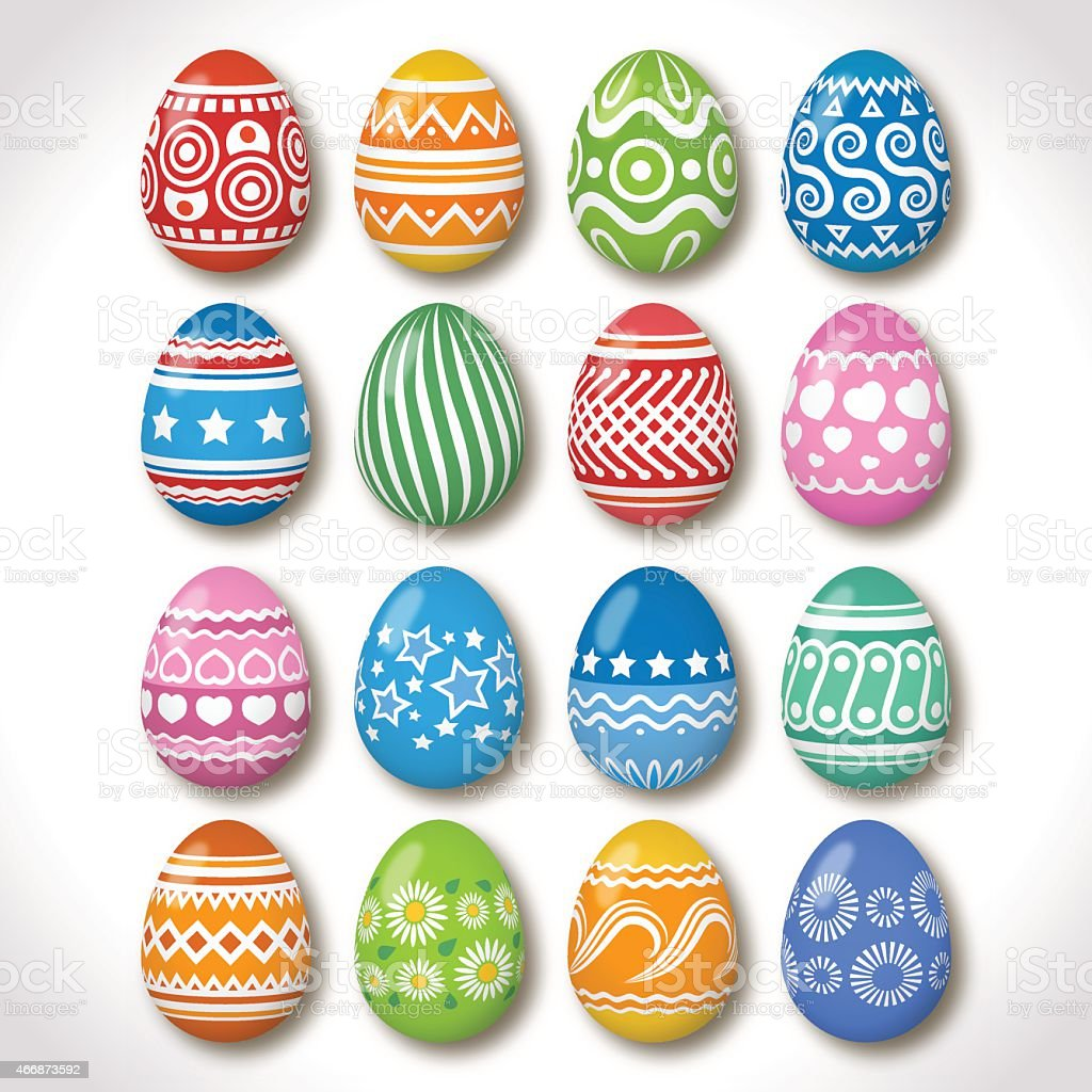 Easter eggs declared with different patterns vector art illustration