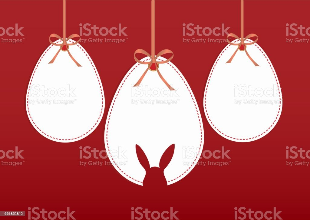 Easter eggs from paper hang on a tape with bows. Greeting card or invitation for a holiday. Free space for text. Vector vector art illustration