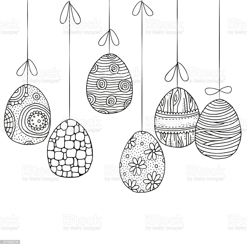 Easter eggs. Hand-drawn decorative elements in vector vector art illustration