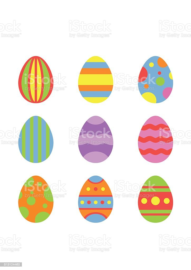 Easter eggs icons in flat style isolated on white background vector art illustration