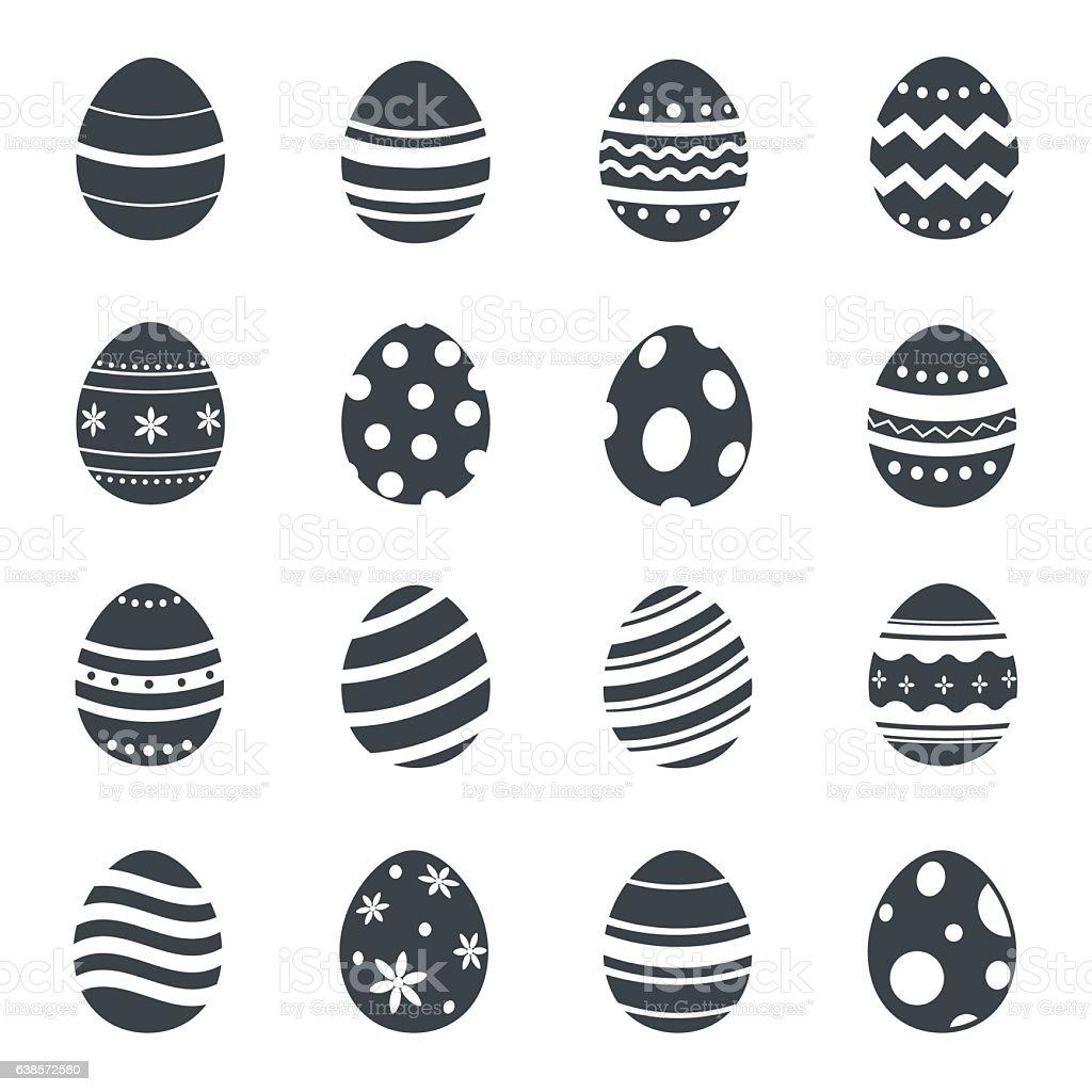 Easter eggs icons. Vector illustration. vector art illustration