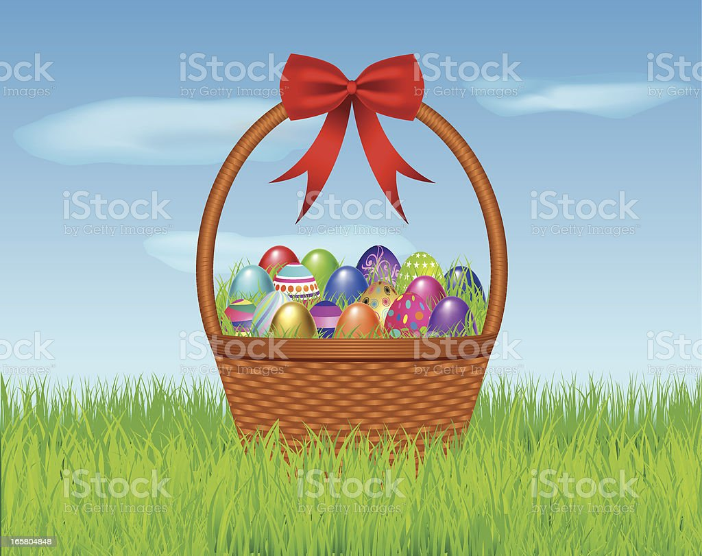 Easter Eggs in a Basket vector art illustration