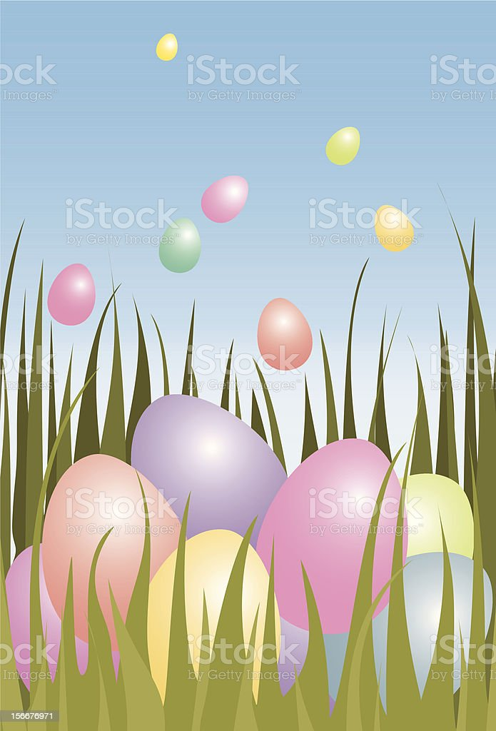 Easter eggs in grass royalty-free stock vector art