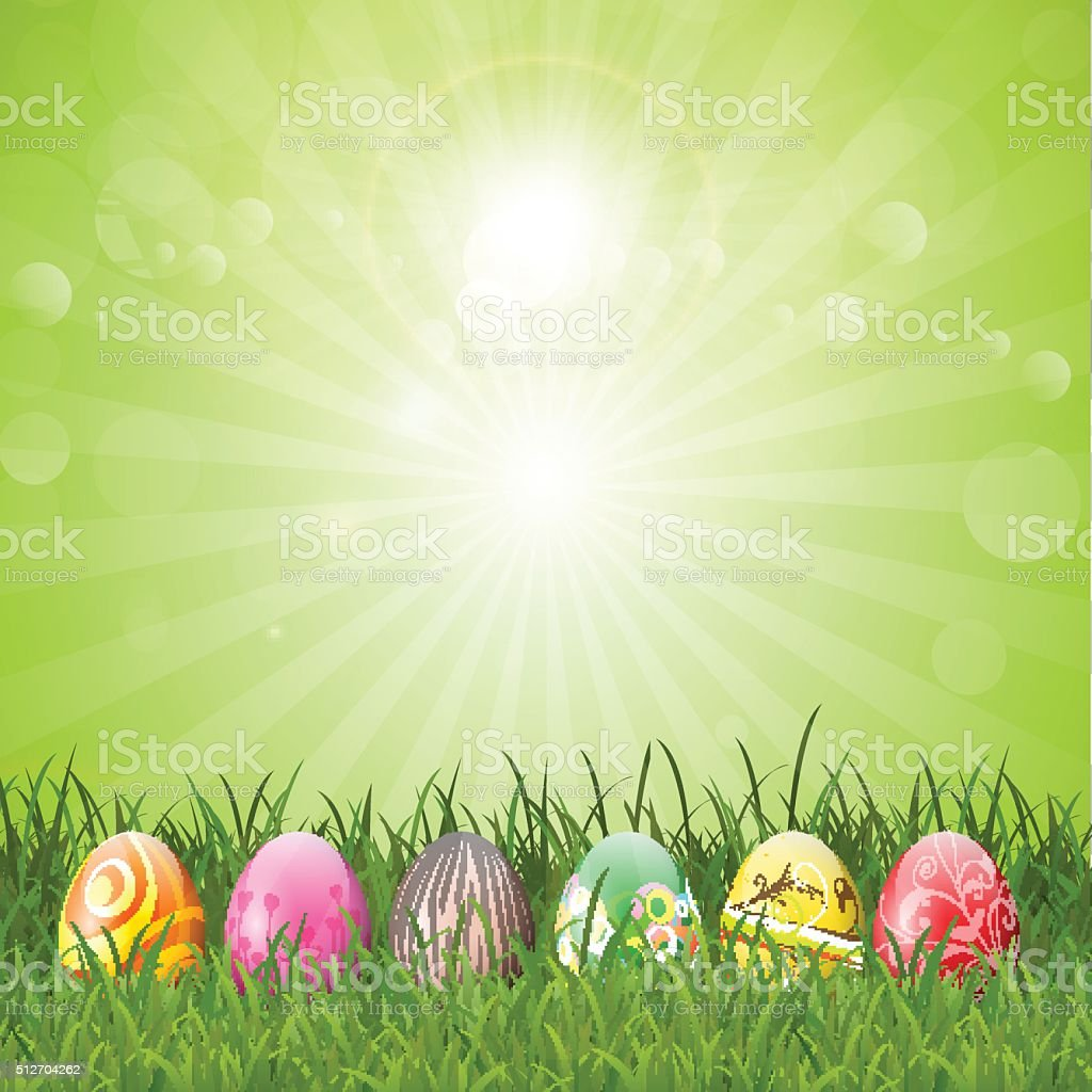 Easter eggs in grass vector art illustration