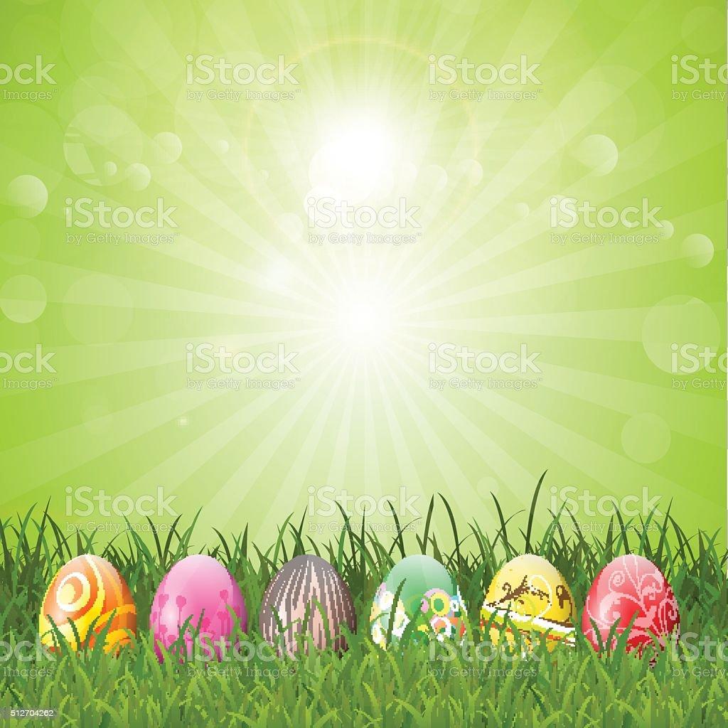 Easter eggs in grass vector art illustration