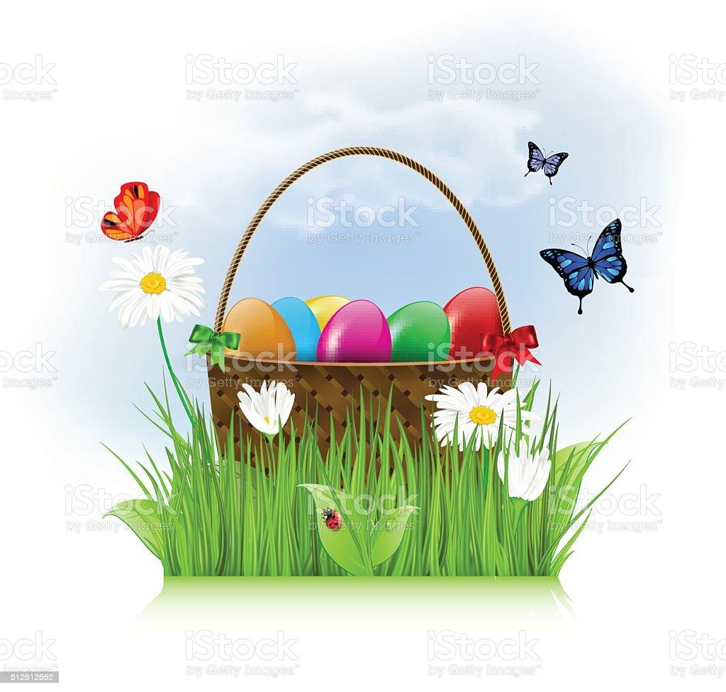 Easter eggs in wooden basket on spring meadow vector art illustration