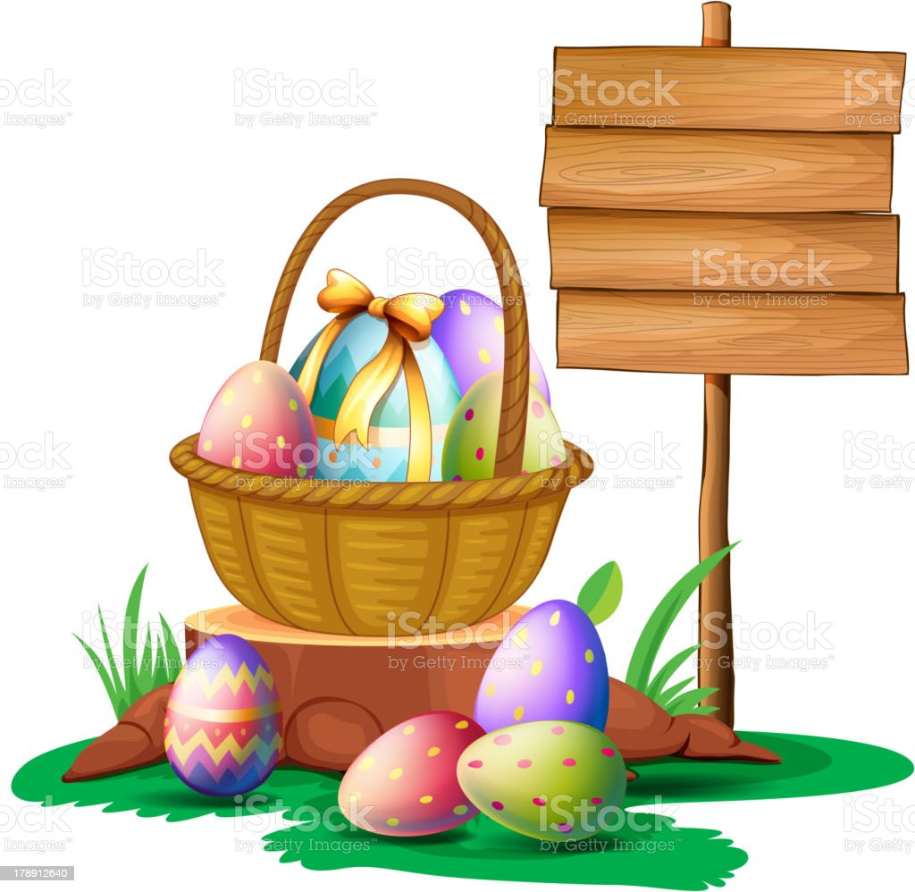 Easter eggs near a wooden signboard royalty-free stock vector art