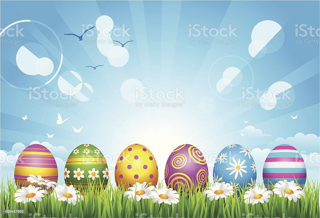 Easter Eggs on grass royalty-free stock vector art