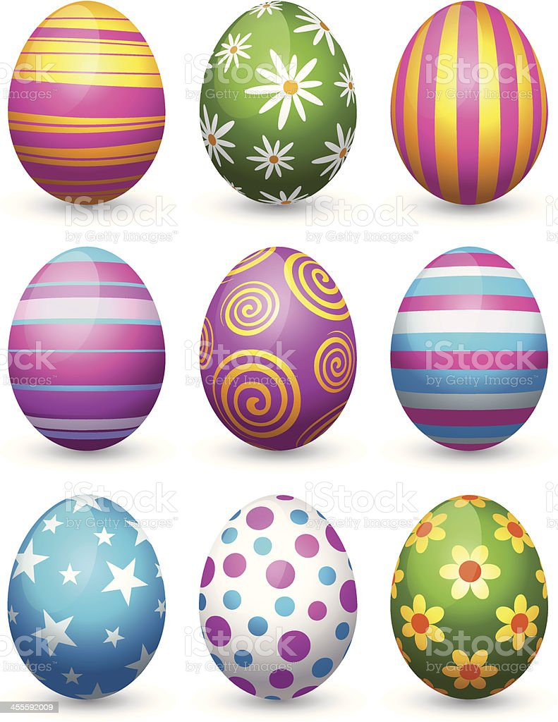 Easter Eggs on grass vector art illustration