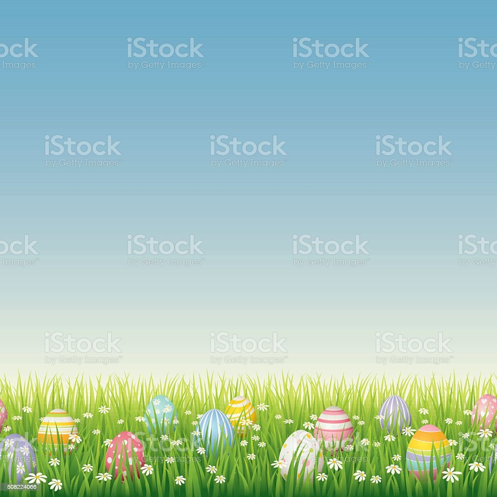 Easter eggs on green grass - seamless vector art illustration