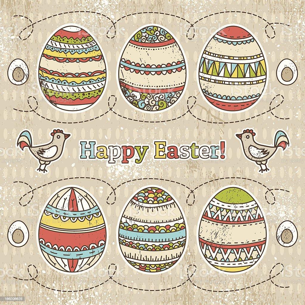 easter eggs on grunge  background royalty-free stock vector art