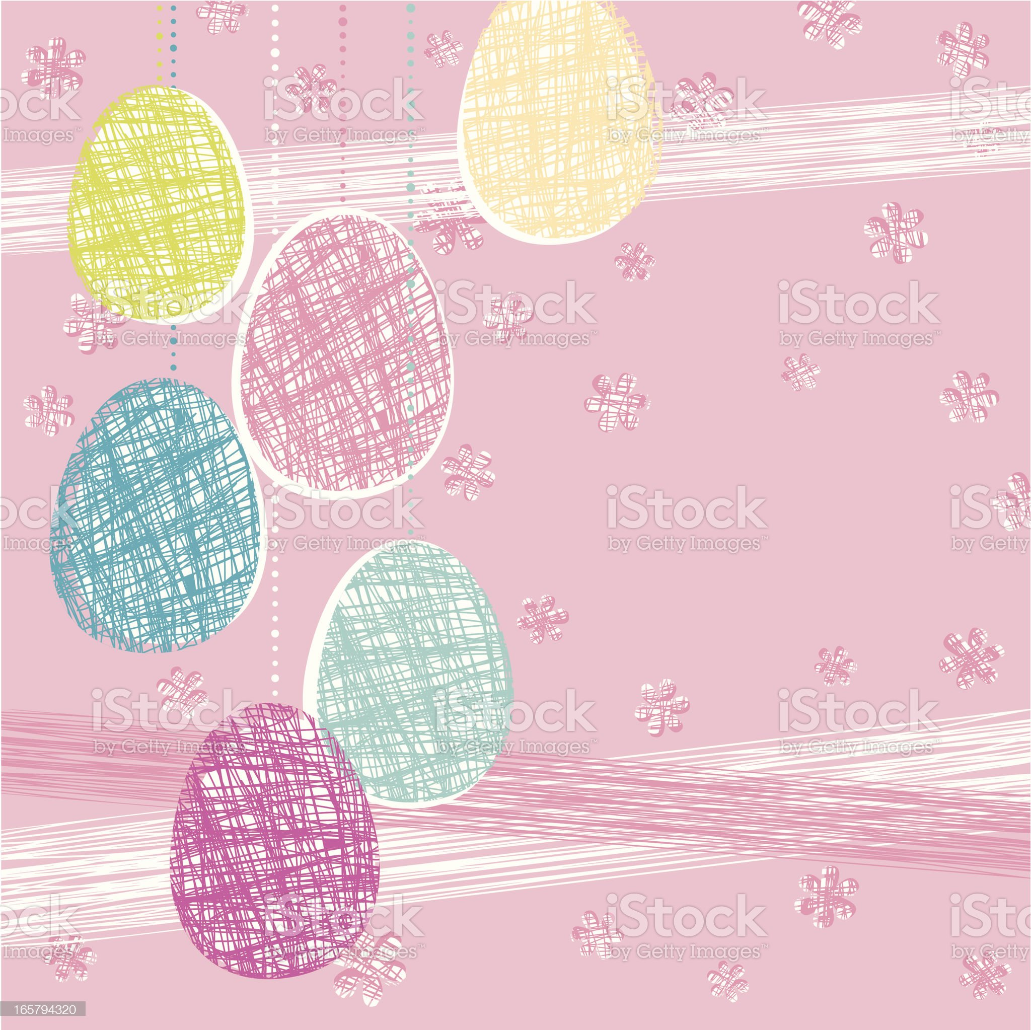 Easter Eggs on Pink Background royalty-free stock vector art