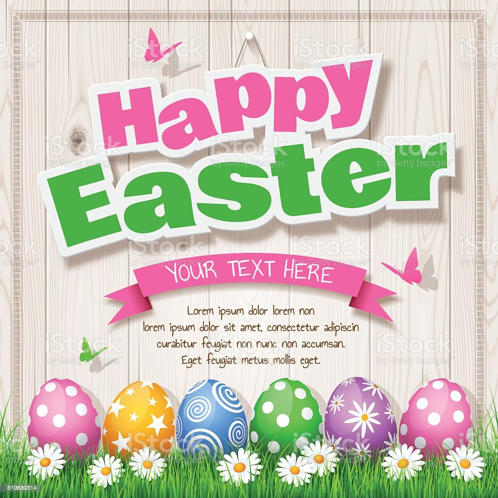 Easter Eggs on Wood background with text 'Happy Easter' vector art illustration