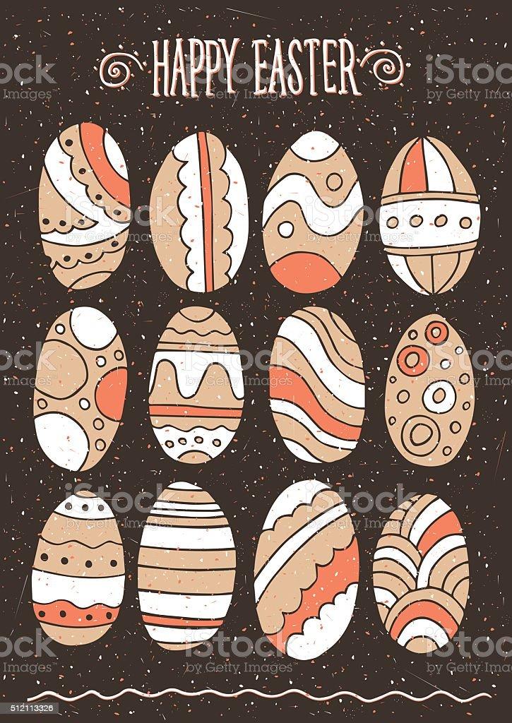Easter eggs set vector art illustration