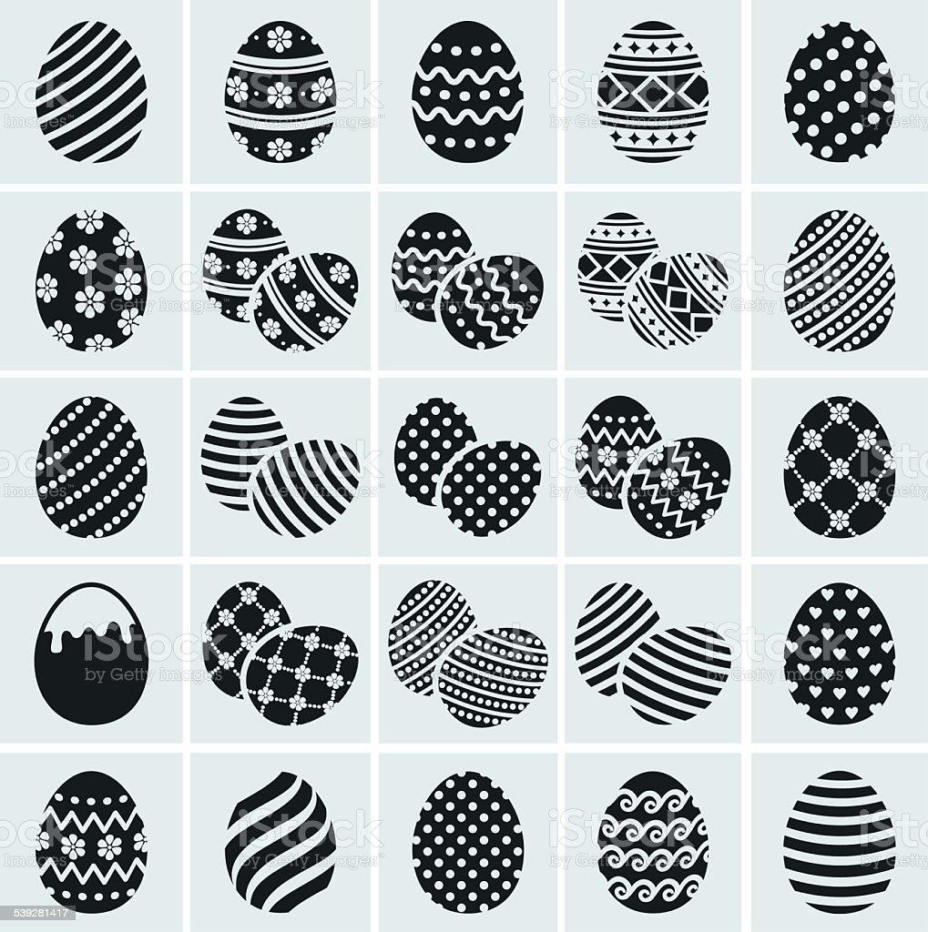 Easter eggs. Vector icons set. vector art illustration