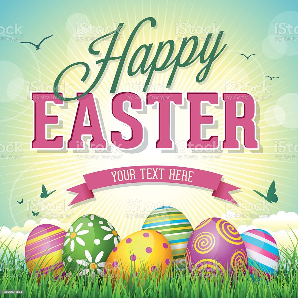 Easter Eggs vector art illustration