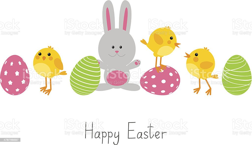 Easter eggs with cute chickens and rabbit vector art illustration
