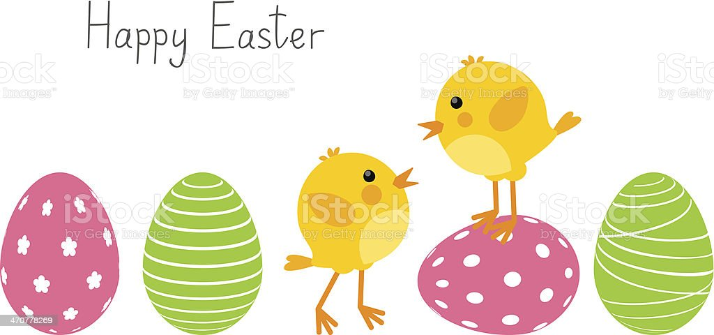 Easter eggs with cute chickens vector art illustration
