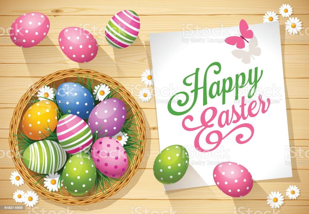 Easter eggs with greeting card on a wooden background vector art illustration