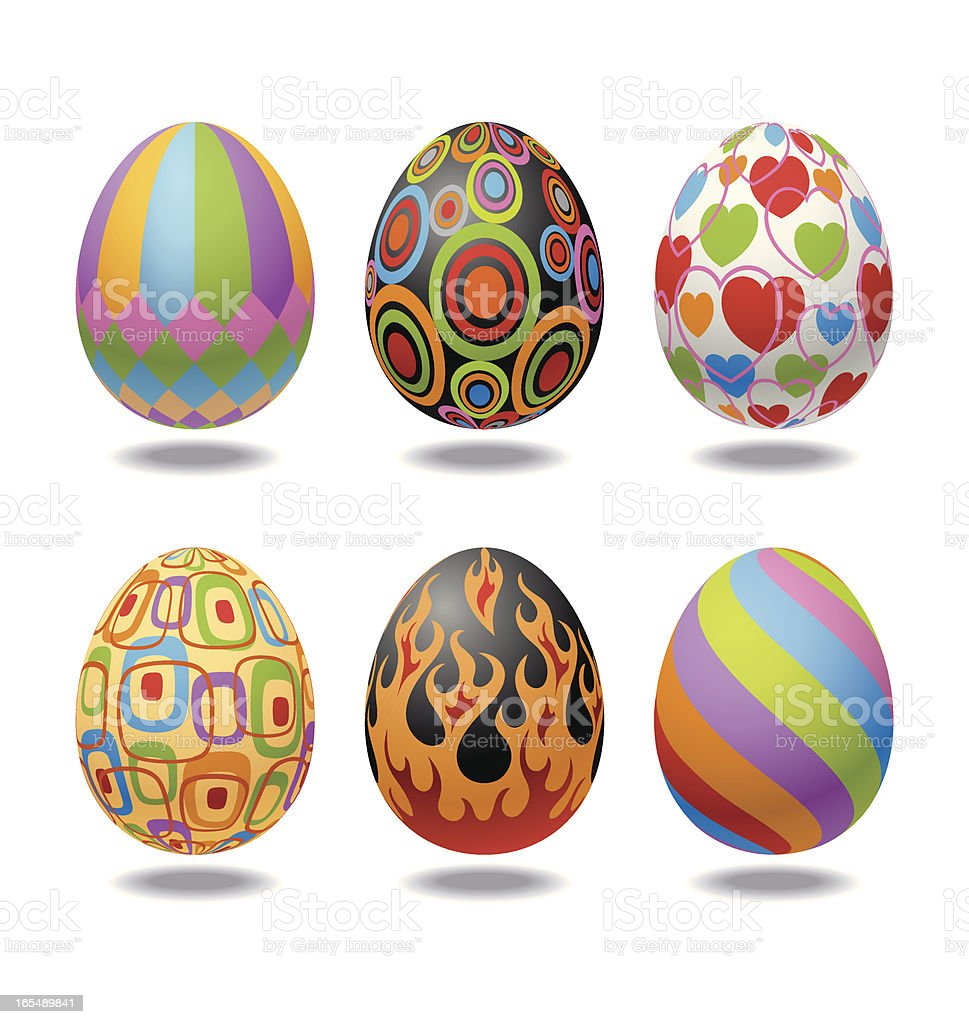 Easter Eggs with Six Different Decorations Vector royalty-free stock vector art