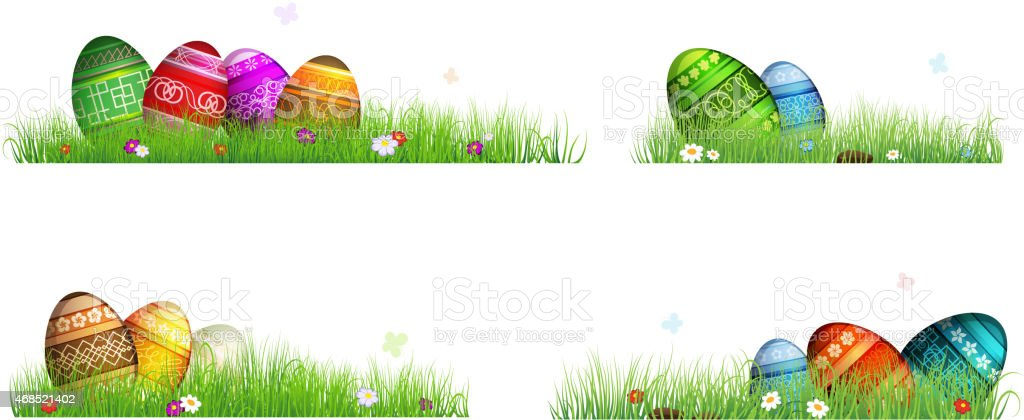 Easter eggs with spring flowers in the grass vector art illustration