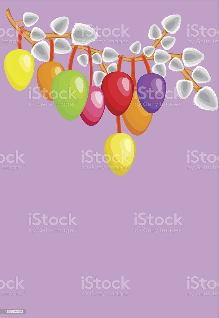 Easter eggs with willows vector art illustration