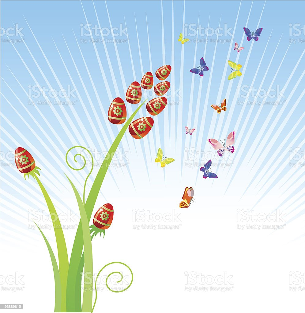 Easter eggs-flowers / with butterfly / vector royalty-free stock vector art