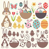 Easter elements vector set