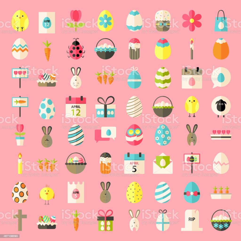 Easter flat style icons vector art illustration