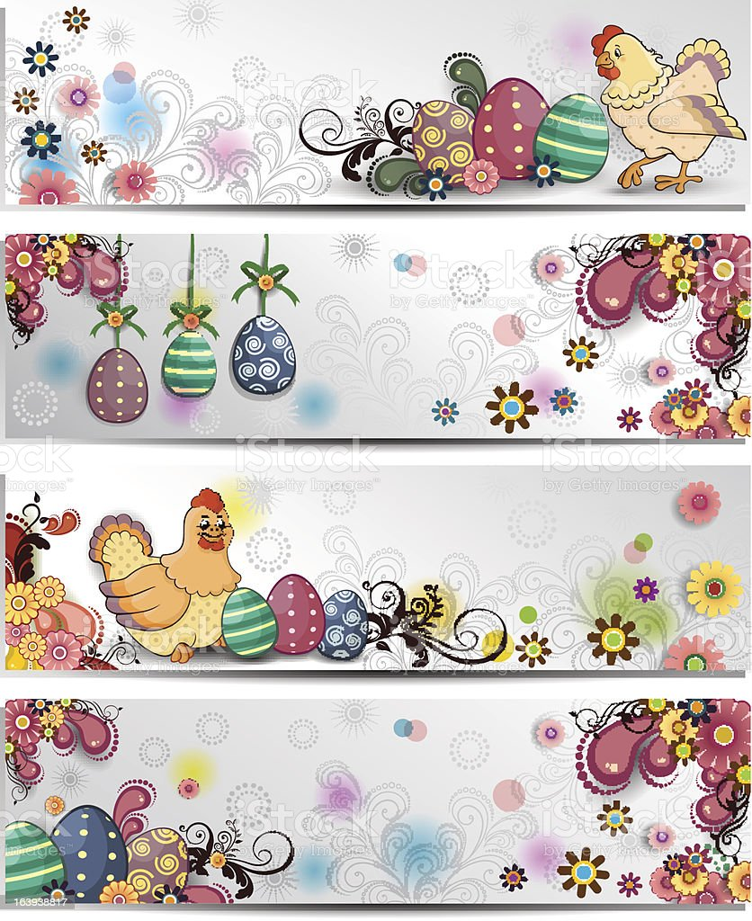 Easter floral banner white background royalty-free stock vector art