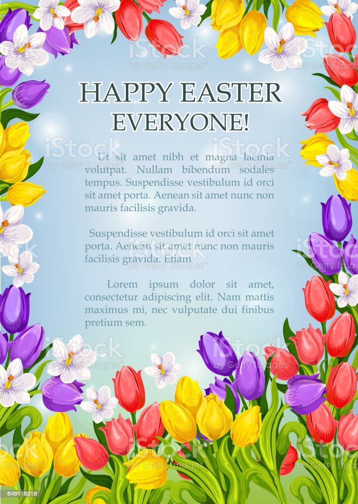 Easter flowers poster vector paschal greeting card vector art illustration