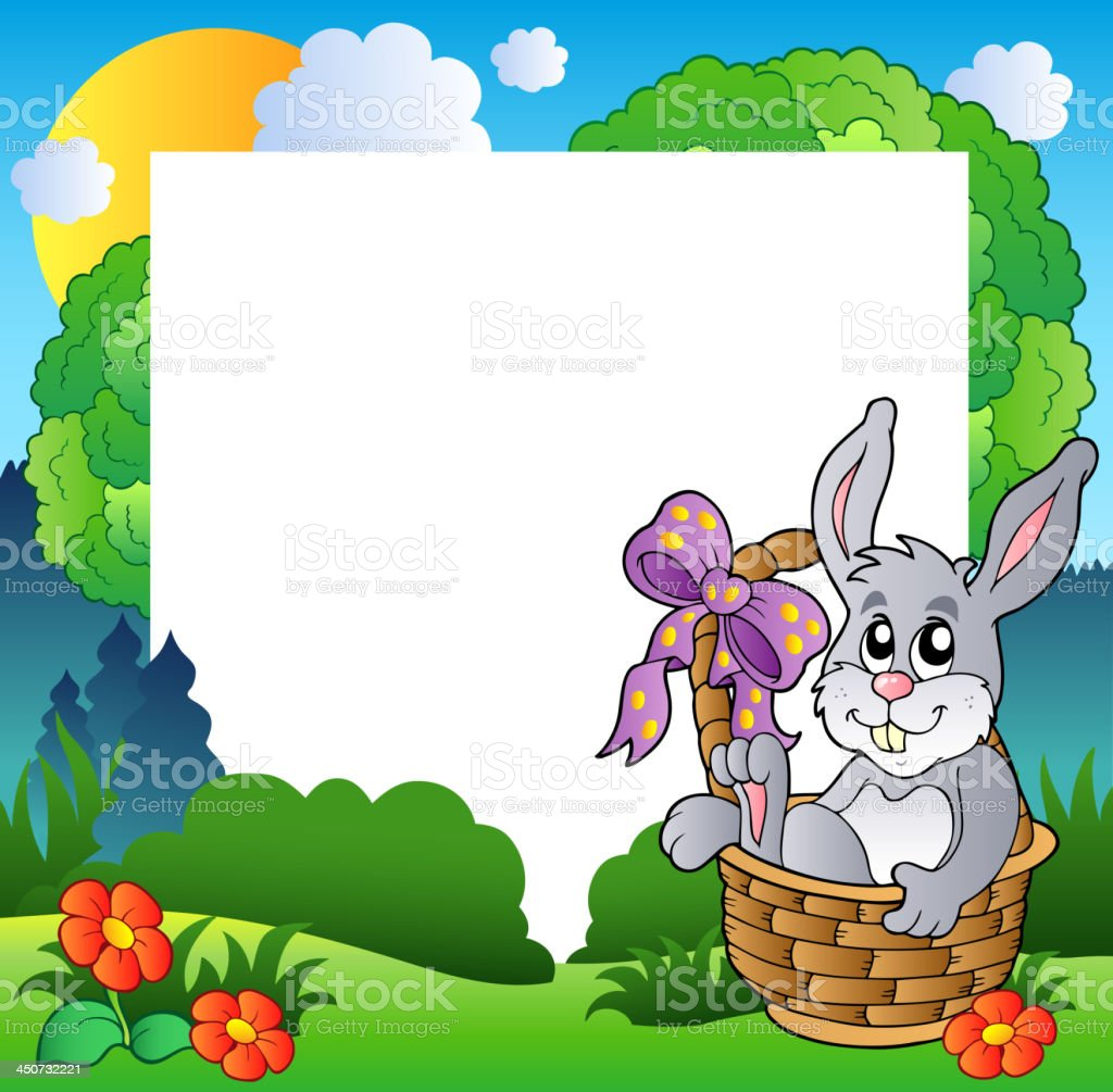 Easter frame with bunny in basket royalty-free stock vector art