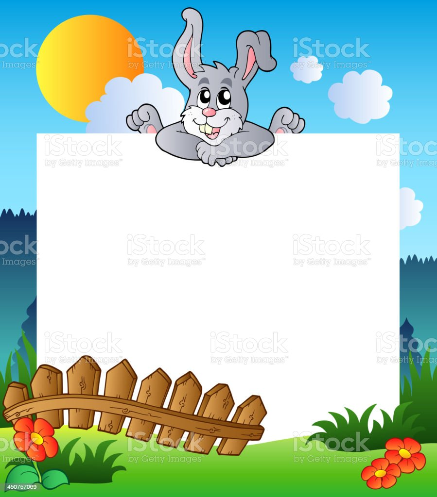 Easter frame with lurking bunny vector art illustration