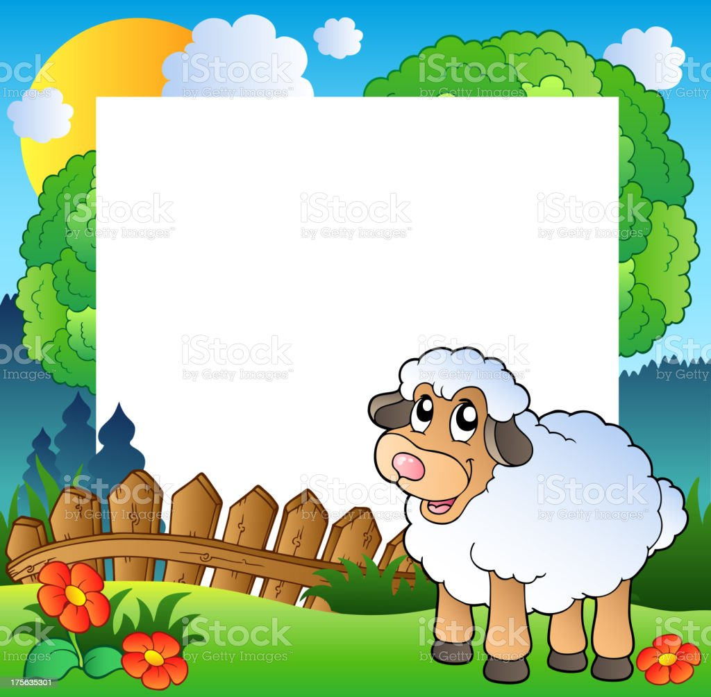 Easter frame with sheep on meadow vector art illustration
