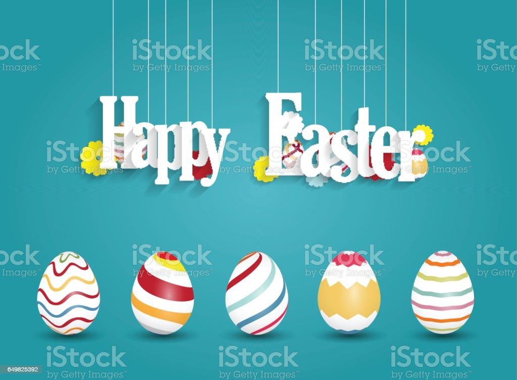 Easter greeting card. Colorful eggs with hanging letters vector art illustration