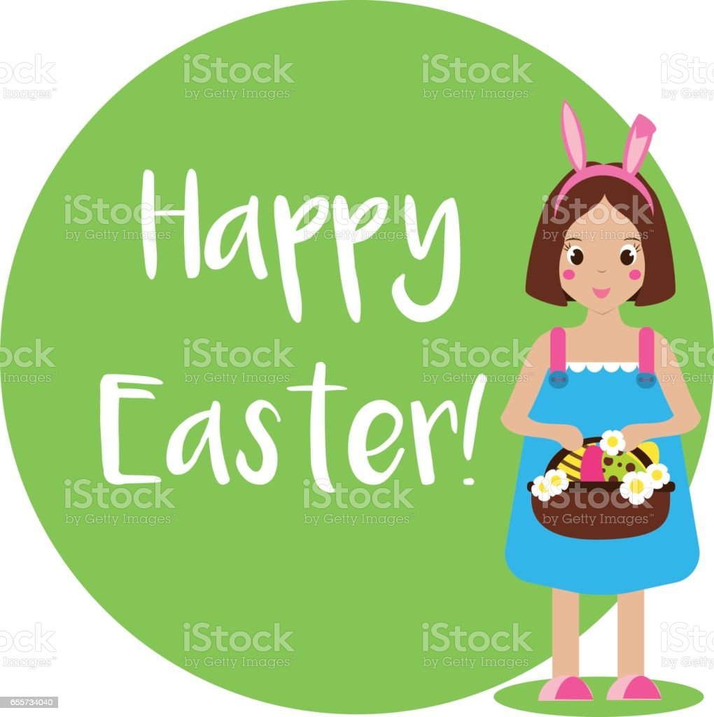 Easter greeting card, seasonal background. Cute smiling girl with bunny ears and eggs in basket vector art illustration