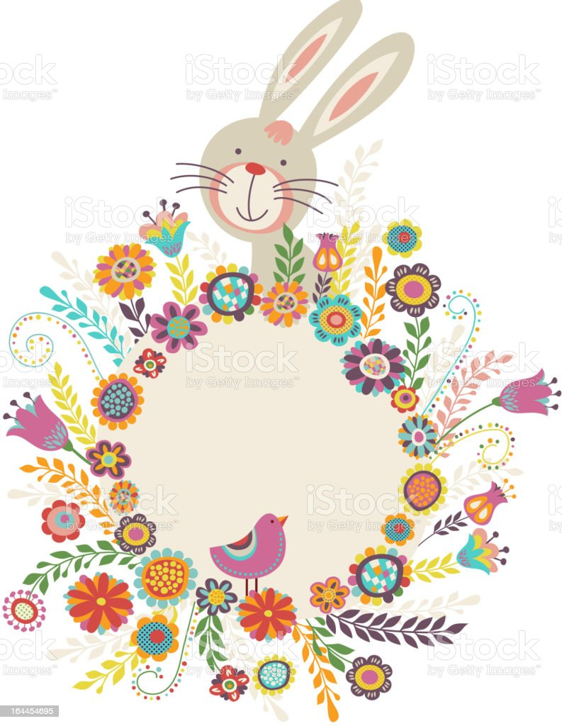 Easter greeting card with bunny and flowers vector art illustration