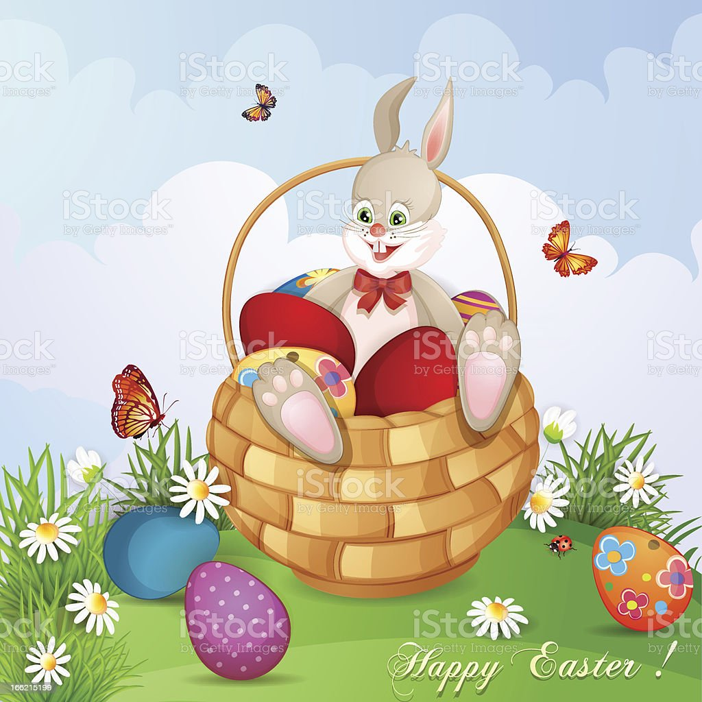 Easter greeting card with cute bunny royalty-free stock vector art