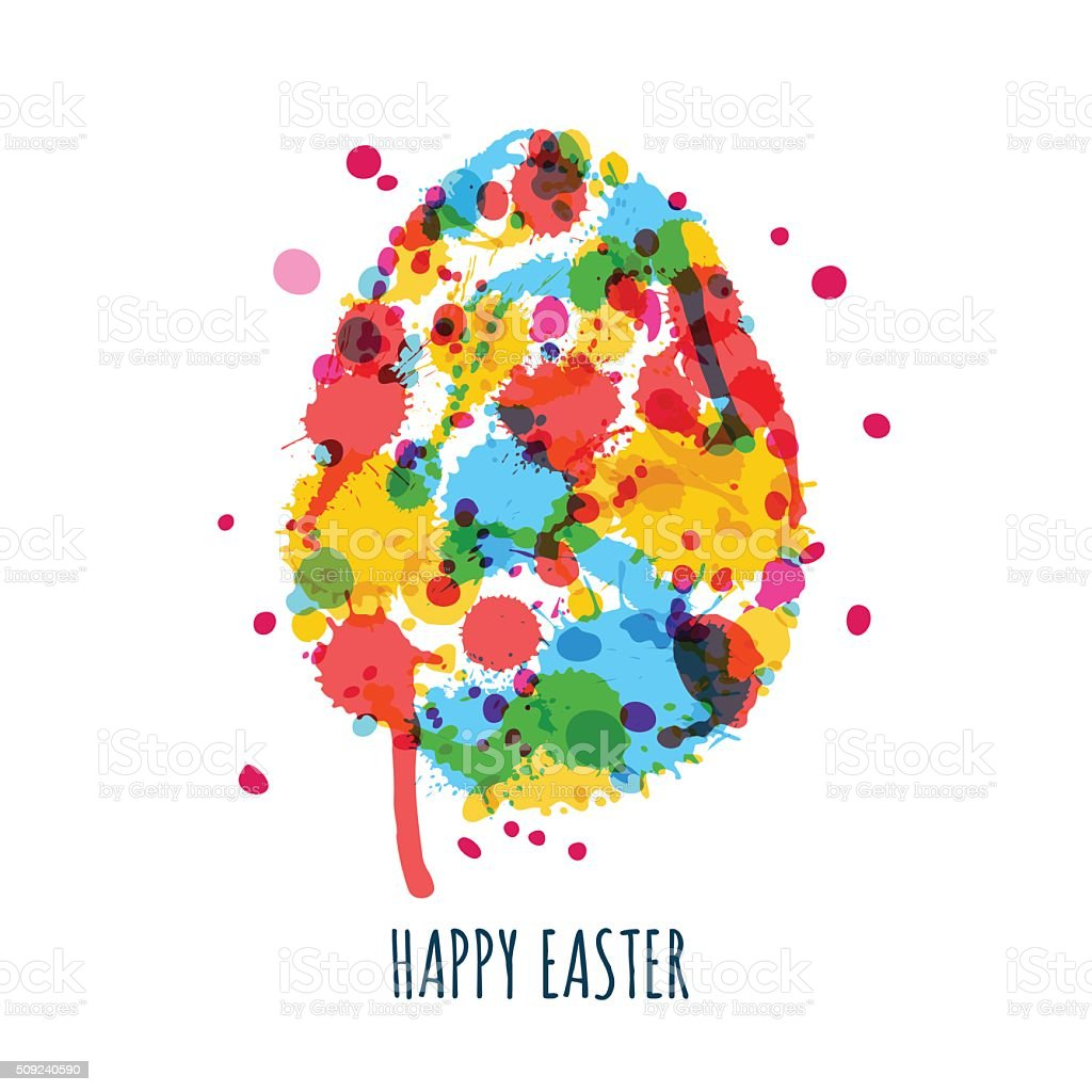 Easter greeting card with multicolor egg made from watercolor splashes vector art illustration