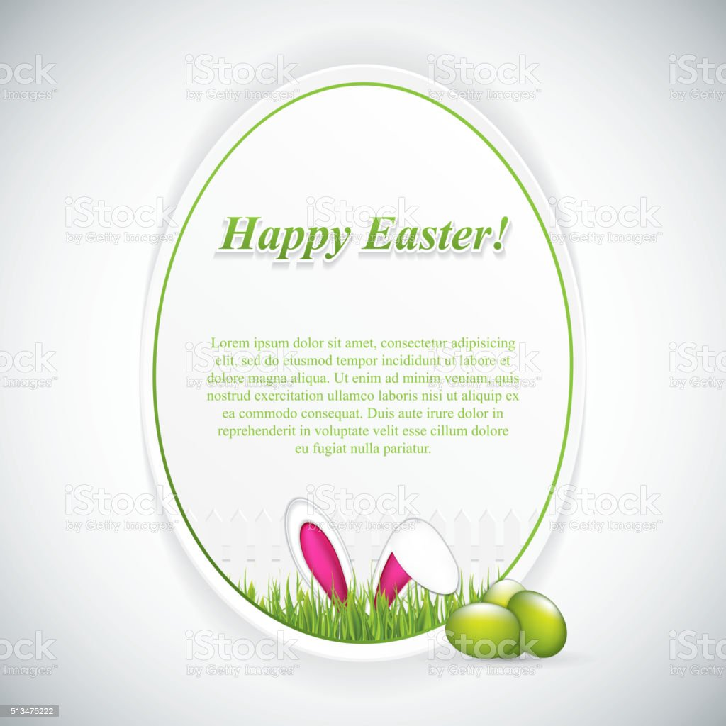 Easter greeting card with rabbit ears vector art illustration