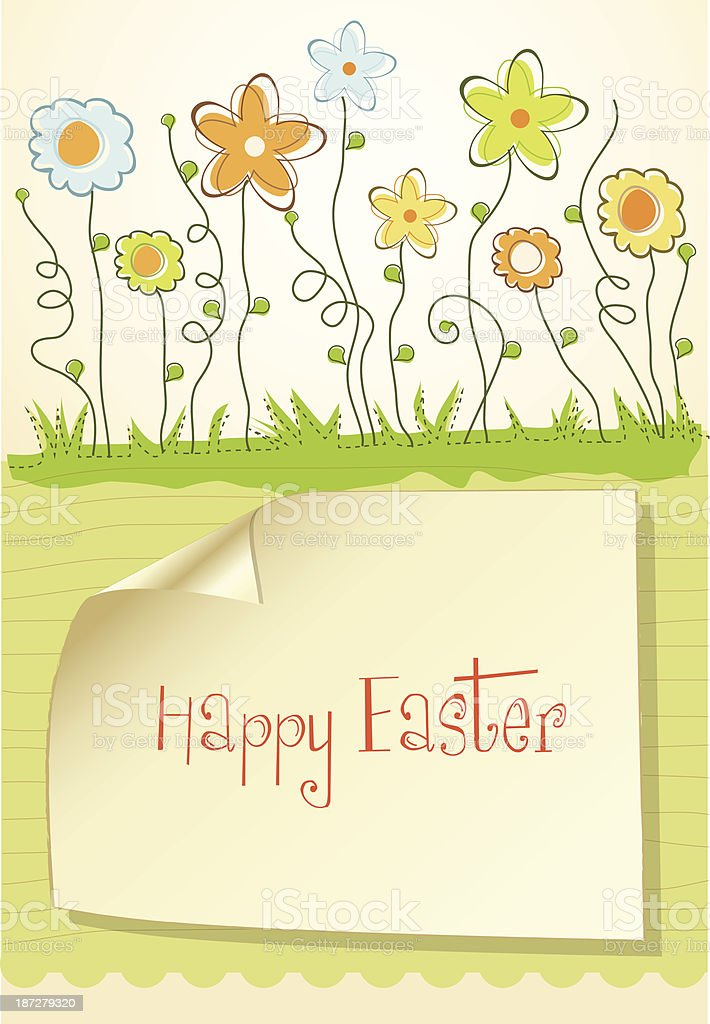 Easter greeting card with spring flowers vector art illustration