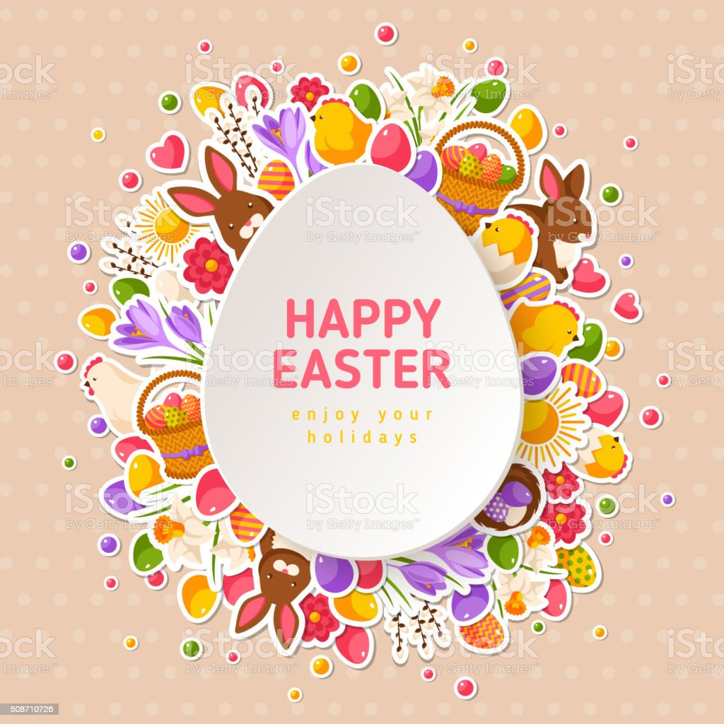 Easter Greeting Cards with Paper Cut Easter Egg vector art illustration