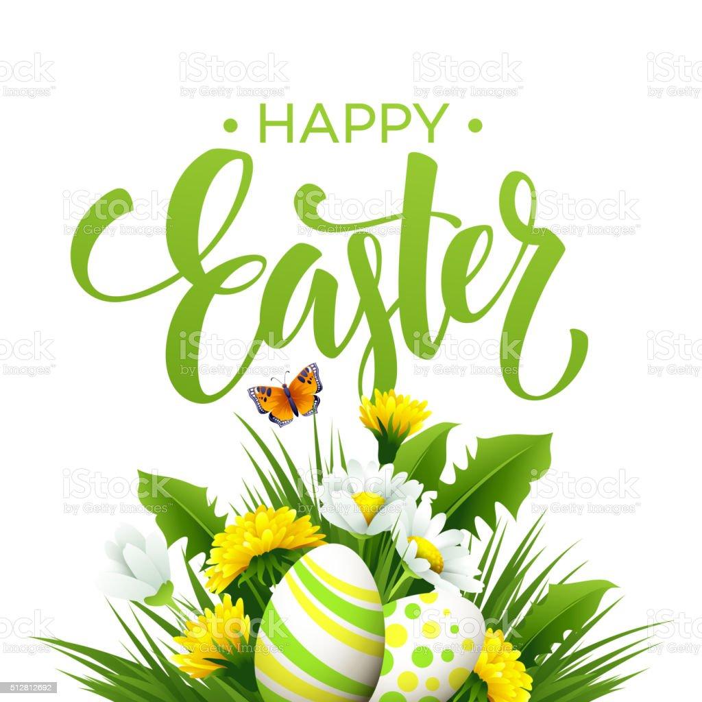 Easter greeting. Lettering Flower Egg. Vector illustration vector art illustration