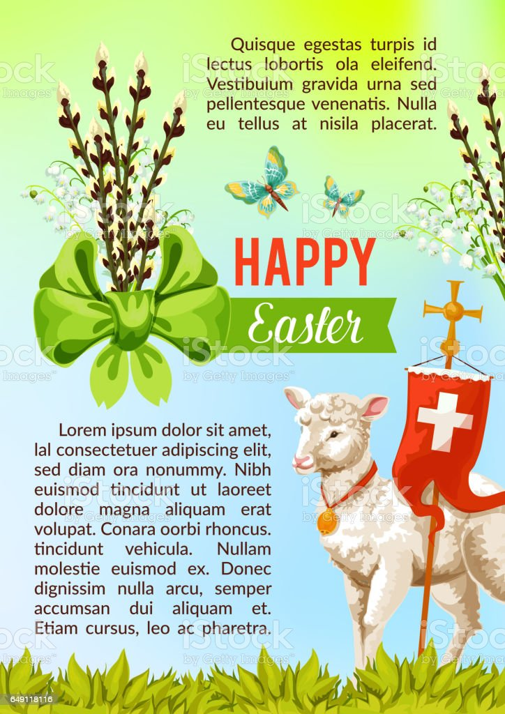 Easter greeting vector poster, paschal eggs willow vector art illustration