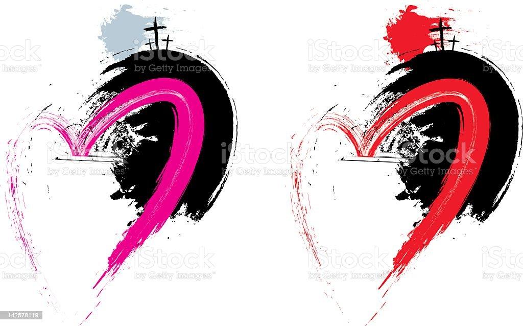 Easter Grunge Heart vector art illustration