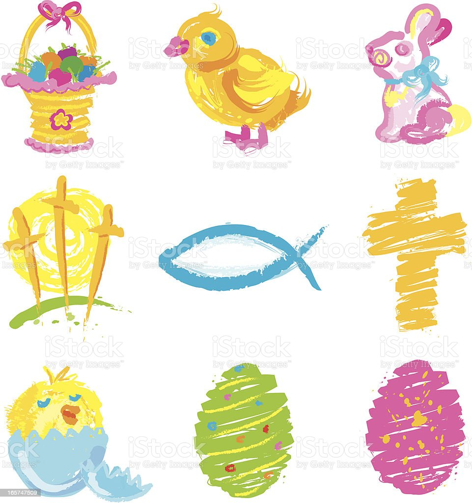 Easter Grunge icons royalty-free stock vector art