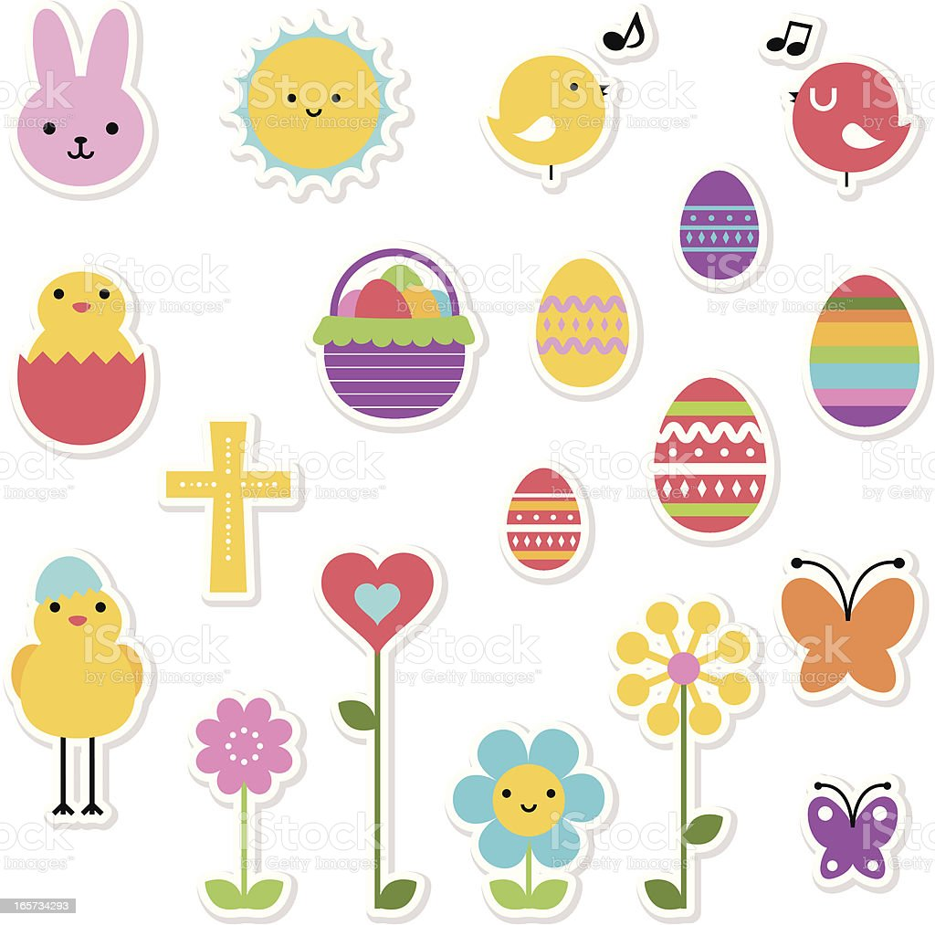 Easter Holiday Icon Set, Design Elements In Multi Colored royalty-free stock vector art